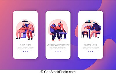 Tattooing Salon Concept. Male and Female Characters Decorating Body with Professional Tattoo Painting. Mobile App Page Onboard Screen Set for Website or Web Page, Cartoon Flat Vector Illustration