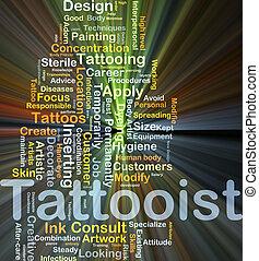 tattooist, baggrund, begreb, glødende