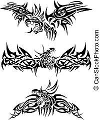 Tattoos dragons - Three tattoos with mythic dragons.