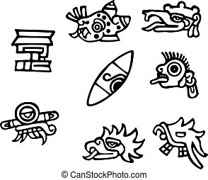 tattoos, groot, mayan, kunstwerk, symbolen