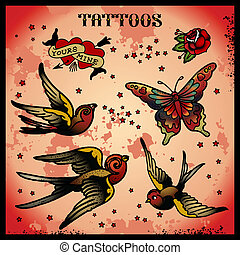 tattoos isolated on light background