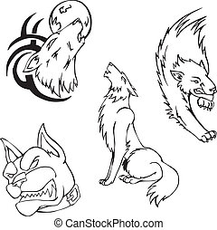 Tattoos - wolves and dog. Set of black and white vector images.