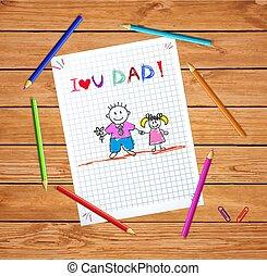 tatuś, córka, ojciec, rysunki, miłość, ty, koźlę