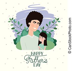 tatuś, córka, ojcowie, litery, dzień, karta, szczęśliwy