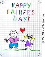 tatuś, córka, ojcowie, powitanie, dzień, karta, szczęśliwy