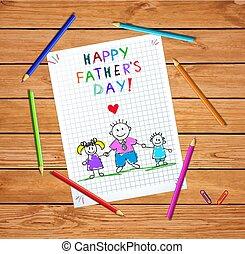tatuś, córka, powitanie, wręczać dzierżawę, syn, karta