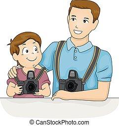 tatuś, chłopiec, aparat fotograficzny, koźlę