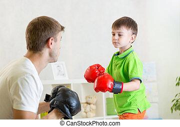 tatuś, chłopiec, gra, boks, dziecko
