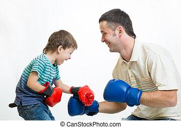 tatuś, chłopiec, gra, boks, koźlę