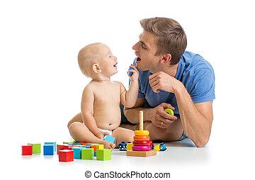 tatuś, chłopiec, gra, razem, niemowlę, szczęśliwy
