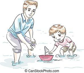 tatuś, chłopiec, ilustracja, interpretacja, łódka, koźlę