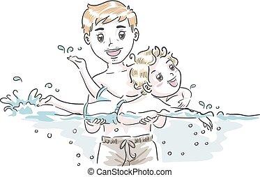 tatuś, chłopiec, ilustracja, pływać, uczyć, koźlę