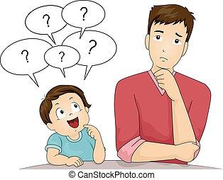 tatuś, chłopiec, pytania, koźlę