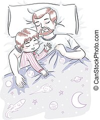 tatuś, chłopiec, sen, ilustracja, koźlę