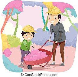 tatuś, chłopiec, stickman, ilustracja, cukierek, bawełna, koźlę