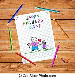 tatuś, doodle, ojcowie, powitanie, syn, dzień, karta, szczęśliwy