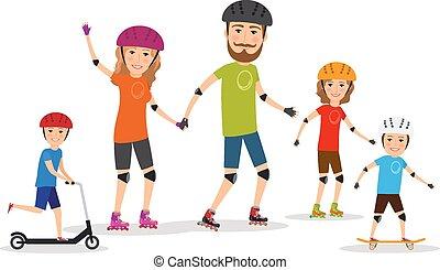 tatuś, dzieciaki, family., lekkoatletyka, łyżwa, mamusia, wałek