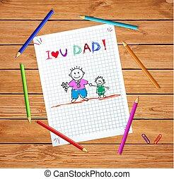 tatuś, dzieciaki, miłość, syn, rysunki, córka, ty