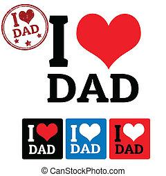 tatuś, etykiety, miłość, znak