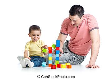 tatuś, gmach, gra, jego, kloce, koźlę