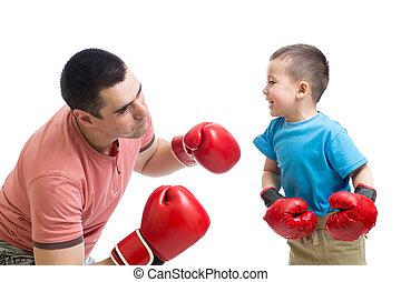 tatuś, gra, boks rękawiczki, dziecko