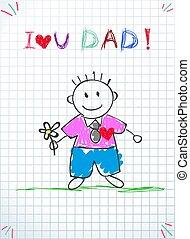 tatuś, miłość, card., ojcowie, powitanie, ty, dzień, szczęśliwy