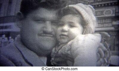 tatuś, miasto, 1946:, -, nowy york, dziecko, całowanie