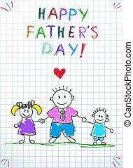 tatuś, ojciec, powitanie, niemowlę, dzieciaki, dzień, karta, szczęśliwy
