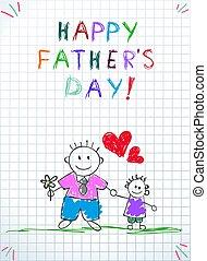 tatuś, ojcowie, powitanie, syn, niemowlę, dzień, karta, szczęśliwy