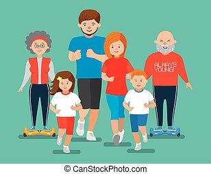 tatuś, płaski, córka, family., syn, grandfather., lekkoatletyka, babcia, mamusia, szczęśliwy