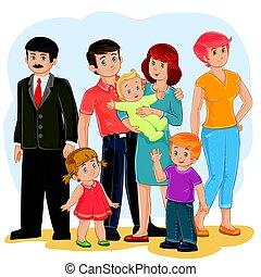 tatuś, rodzina, córka, -, dziadek, syn, babcia, wektor, mamusia, niemowlę, szczęśliwy