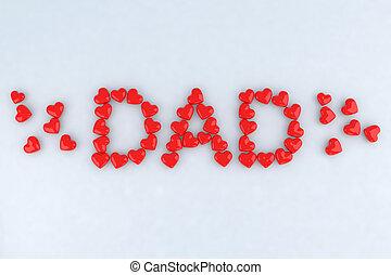 tatuś, serca, pisemny, mały