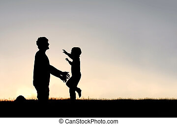 tatuś, sylwetka, młody, powitać, wyścigi, dziecko, ...