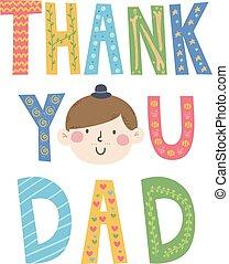 tatuś, ty, dziękować, ilustracja, twarz
