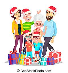 tatuś, vector., rodzina, hats., dziadkowie, celebrating., odizolowany, ilustracja, gwiazdkowa ozdoba, razem., święty, mamusia, dzieci, rysunek, element.