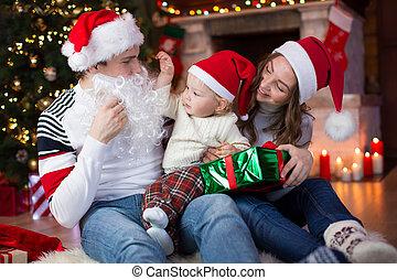 tatuś, weared, dziecko, święty, posiedzenie, claus, drzewo, spojrzenia, przeciwległy, fałszować, boże narodzenie, zdziwiony, broda
