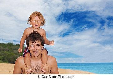 tatuś, wybrzeże, syn