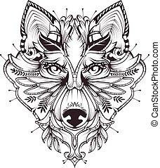 tatuagem, abstratos, cabeça, ilustração, cão