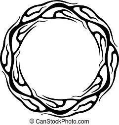 tatuagem, abstratos, isolado, fundo, anel, branca