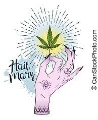 tatuagem, adesivo, folha, experiência., sobre, marijuana, ilustração, isolado, cannabis, vetorial, desenho, femininas, impressão, branca, mão, ou
