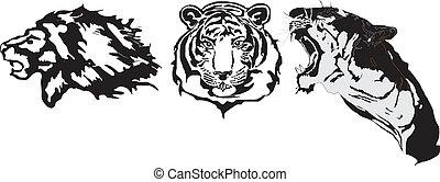 tatuagem, agressivo, animais