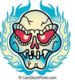 tatuagem, arte, chamas, clip, desenho, cranio