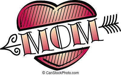 tatuagem, arte, clip, coração, desenho, mãe