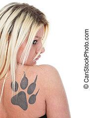 tatuagem, blondie, menina, isolado