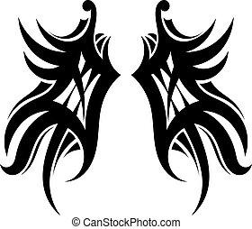 tatuagem, branca, asas, fundo