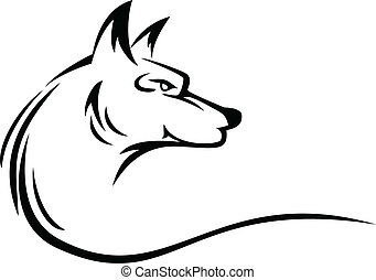 tatuagem, cabeça, lobo