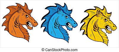 tatuagem, cavalo, vetorial, mascote