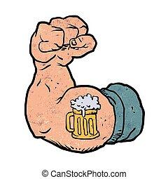 tatuagem, cerveja, flexionado, braço