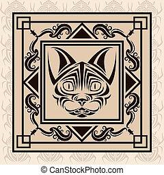 tatuagem, desenho, animal, gato