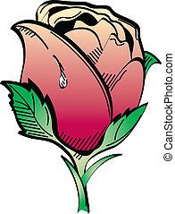 tatuagem, desenho, arte, clip, rosa